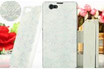 Фирменная роскошная модная задняя панель-чехол-накладка для Sony Xperia Z1 Compact D5503 белые узоры