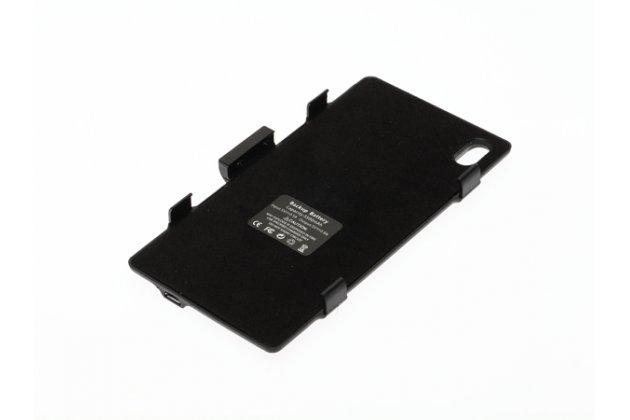 Чехол-бампер со встроенной усиленной мощной батарей-аккумулятором большой повышенной расширенной ёмкости 3200mAh для Sony Xperia Z1 (C6903) черный + гарантия