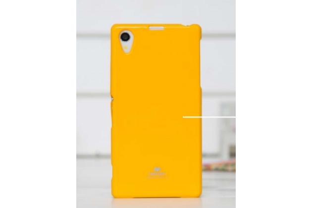 Фирменная необычная уникальная полимерная мягкая задняя панель-чехол-накладка для Sony Xperia Z1 (C6903) желтая