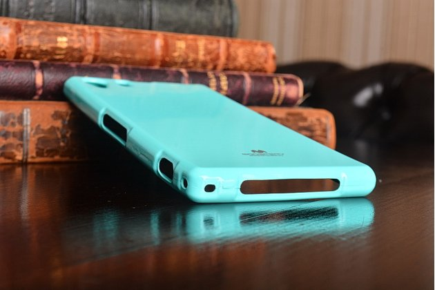 Фирменная полимерная мягкая задняя панель-чехол-накладка для Sony Xperia Z1 (C6903) мятная