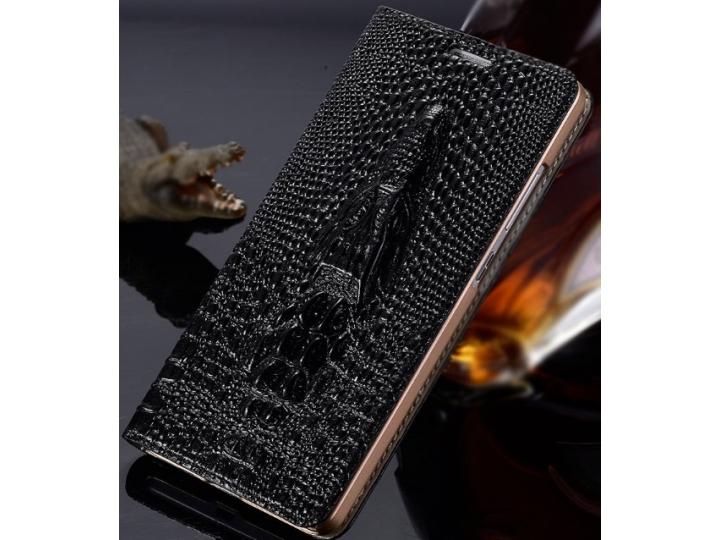Фирменный роскошный эксклюзивный чехол с объёмным 3D изображением кожи крокодила для Sony Xperia Z2 (D6503) че..