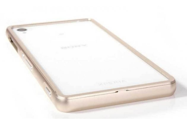 Фирменный оригинальный ультра-тонкий чехол-бампер для Sony Xperia Z3 D6603/ Z3 Dual D6633 золотой металлический