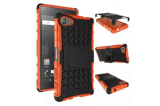 """Противоударный усиленный ударопрочный фирменный чехол-бампер-пенал для Sony Xperia Z5 compact E5803/ E5823/ Z5 Compact Premium 4.6"""" оранжевый"""
