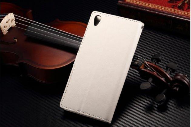 Фирменный чехол-книжка из качественной импортной кожи для Sony Xperia Z3 D6603/ Z3 Dual D6633 белый