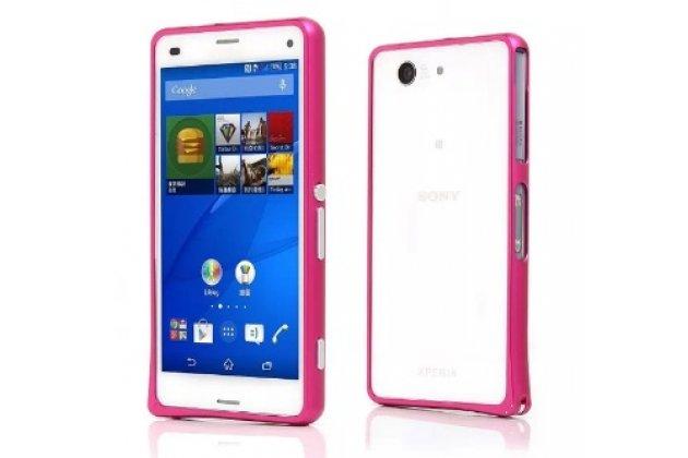 Фирменный оригинальный ультра-тонкий чехол-бампер для Sony Xperia Z3 D6603/ Z3 Dual D6633 / L55u розовый металлический