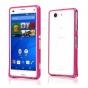 Фирменный оригинальный ультра-тонкий чехол-бампер для Sony Xperia Z3 D6603/ Z3 Dual D6633 / L55u розовый метал..