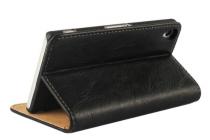 Фирменный оригинальный чехол-книжка для Sony Xperia Z3 D6603/ Z3 Dual D6633 черный кожаный