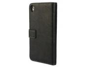 Фирменный оригинальный чехол-книжка для Sony Xperia Z3 D6603/ Z3 Dual D6633 черный кожаный..