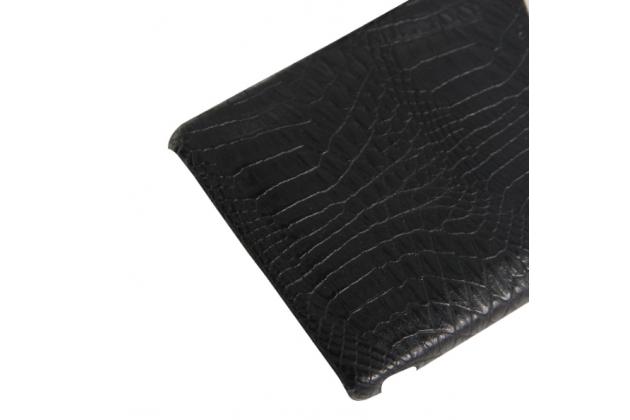 Фирменная роскошная элитная премиальная задняя панель-крышка для Sony Xperia Z3 D6603/ Z3 Dual D6633 из качественной кожи буйвола с визитницей черный