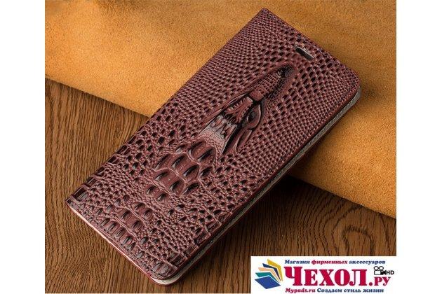 Фирменный роскошный эксклюзивный чехол с объёмным 3D изображением кожи крокодила для Sony Xperia Z3 D6603/ Z3 Dual D6633 темно-красный. Только в нашем магазине. Количество ограничено