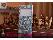 Фирменный чехол-книжка с безумно красивым расписным рисунком Оленя в цветах на Sony Xperia Z4 /Z3+ с окошком д..
