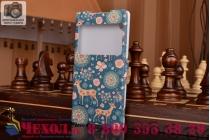 Фирменный чехол-книжка с безумно красивым расписным рисунком Оленя в цветах на Sony Xperia Z4 /Z3+ с окошком для звонков