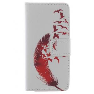 """Фирменный уникальный необычный чехол-книжка для Sony Xperia Z5 compact E5803/ E5823/ Z5 Compact Premium 4.6"""" """"тематика Перо"""""""
