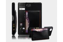 """Фирменная роскошная элитная премиальная задняя панель-крышка для Sony Xperia Z5 compact E5803/ E5823 4.6"""" из качественной кожи буйвола с визитницей черный"""
