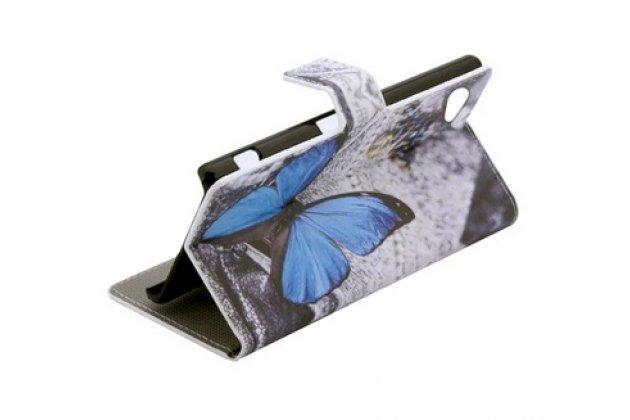 """Фирменный уникальный необычный чехол-книжка для Sony Xperia Z5 compact E5803/E5823/ Z5 Compact Premium 4.6 """"тематика Бабочки"""""""