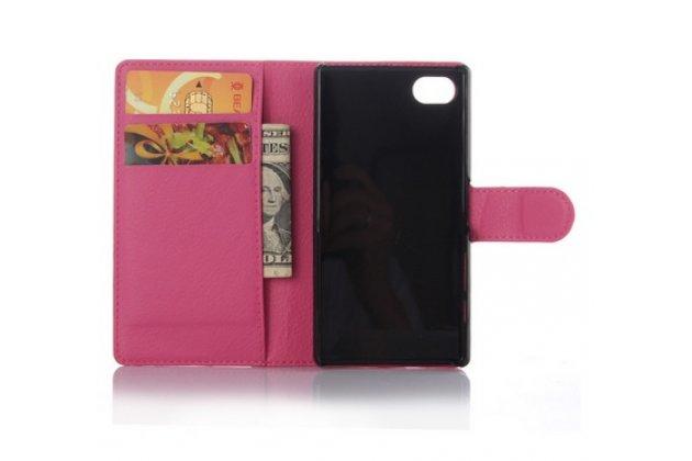 Фирменный чехол-книжка для Sony Xperia Z5 compact E5803/E5823/ Z5 Compact Premium 4.6 розовый с окошком для входящих вызовов водоотталкивающий