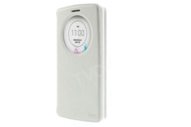 """Фирменный чехол-книжка для Sony Xperia Z5 compact E5803/E5823/ Z5 Compact Premium 4.6"""" белый с окошком для входящих вызовов из импортной кожи"""
