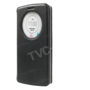 """Фирменный чехол-книжка для Sony Xperia Z5 compact E5803/E5823/ Z5 Compact Premium 4.6"""" черный с окошком для входящих вызовов из импортной кожи"""