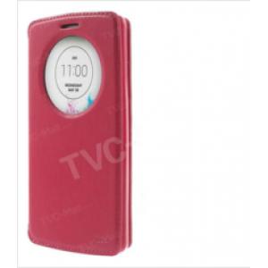 """Фирменный чехол-книжка для Sony Xperia Z5 compact E5803/E5823/Z5 Compact Premium  4.6"""" красный с окошком для входящих вызовов из импортной кожи"""