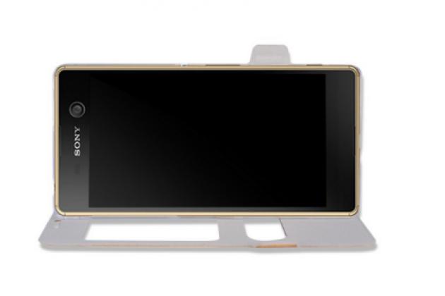"""Фирменный чехол-книжка для Sony Xperia Z5 compact E5803/E5823/ Z5 Compact Premium 4.6""""  золотой с окошком для входящих вызовов и свайпом водоотталкивающий"""