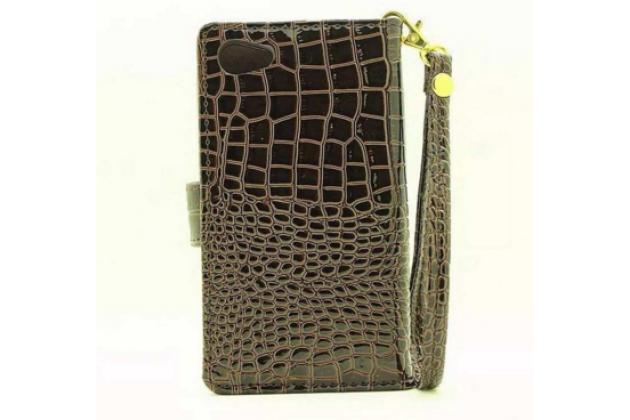 """Фирменный чехол-книжка с подставкой для Sony Xperia Z5 compact E5803/E5823/ Z5 Compact Premium 4.6"""" лаковая кожа крокодила коричневый"""