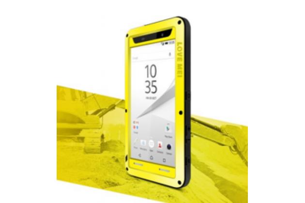 """Неубиваемый водостойкий противоударный водонепроницаемый грязестойкий влагозащитный ударопрочный фирменный чехол-бампер для Sony Xperia Z5 compact E5803/E5823/ Z5 Compact Premium 4.6"""" цельно-металлический со стеклом Gorilla Glass желтый"""