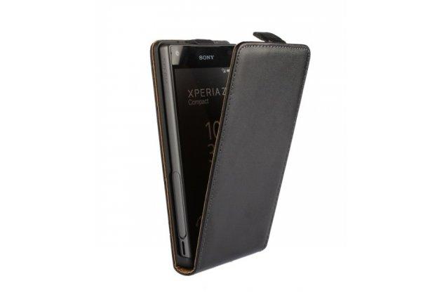 """Фирменный оригинальный вертикальный откидной чехол-флип для Sony Xperia Z5 compact E5803/ E5823/ Z5 Compact Premium 4.6"""" черный из натуральной кожи """"Prestige"""" Италия"""