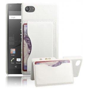 """Фирменная роскошная элитная премиальная задняя панель-крышка для Sony Xperia Z5 compact E5803/ E5823/ Z5 Compact Premium 4.6"""" из качественной кожи буйвола с визитницей белый"""