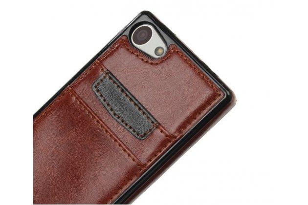 """Фирменная роскошная элитная премиальная задняя панель-крышка для Sony Xperia Z5 compact E5803/ E5823/ Z5 Compact Premium 4.6"""" из качественной кожи буйвола с визитницей коричневый"""