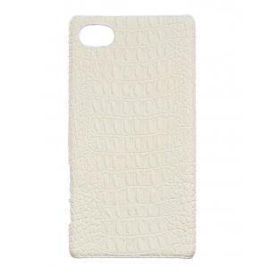 """Элитная задняя панель-крышка премиум-класса из тончайшего и прочного пластика обтянутого кожей крокодила для Sony Xperia Z5 compact E5803/ E5823/ Z5 Compact Premium 4.6"""" белая"""