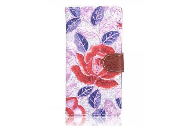 """Фирменный уникальный необычный чехол-книжка для Sony Xperia Z5 / Z5 Dual Sim E6603/E6633 5.2 """"тематика пастельные Розы"""""""