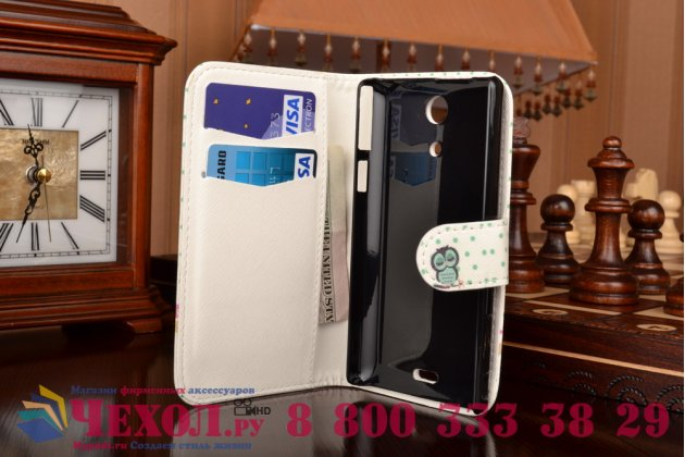"""Фирменный уникальный необычный чехол-книжка для Sony Xperia ZR /ZR LTE C5502/C5503 """"тематика Олени в цветах"""""""