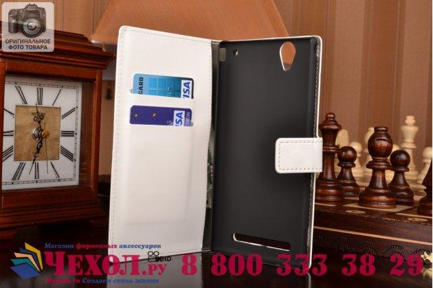Фирменный чехол-книжка из качественной импортной кожи с подставкой застёжкой и визитницей для Sony Xperia T2 Ultra/ T2 Ultra Dual D5303/D5322 белый