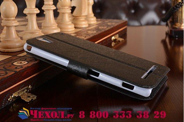 Фирменный чехол-книжка для Sony Xperia T2 Ultra/ T2 Ultra Dual D5303/D5322 черный с окошком для входящих вызовов застежкой и свайпом водоотталкивающий