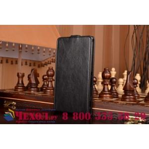 Фирменный оригинальный вертикальный откидной чехол-флип для Sony Xperia T2 Ultra/ T2 Ultra Dual D5303/D5322 черный кожаный