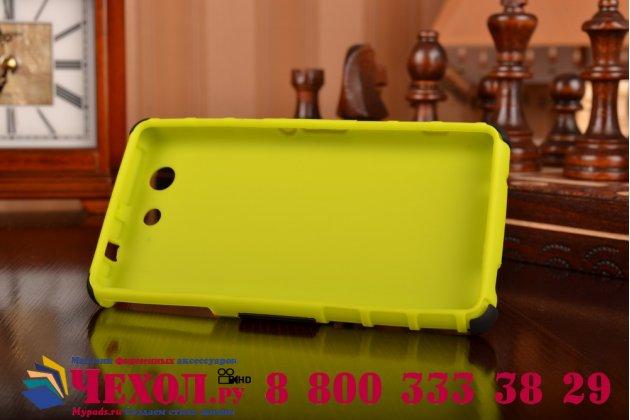 Противоударный усиленный ударопрочный фирменный чехол-бампер-пенал для Sony Xperia Z4 Compact зелёный