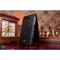 """Фирменный оригинальный вертикальный откидной чехол-флип для Sony Xperia E4/ E4 Dual E2105/E2115 черный кожаный """"Prestige"""" Италия"""