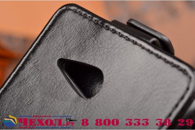 """Фирменный оригинальный вертикальный откидной чехол-флип для  Sony Xperia E4G/ E4G Dual E2003/E2033 черный из натуральной кожи """"Prestige"""" Италия"""