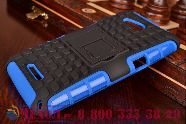 Противоударный усиленный ударопрочный фирменный чехол-бампер-пенал для Sony Xperia E4G/E4G Dual синий