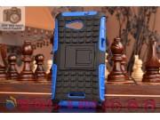 Противоударный усиленный ударопрочный фирменный чехол-бампер-пенал для Sony Xperia E4G/E4G Dual синий..