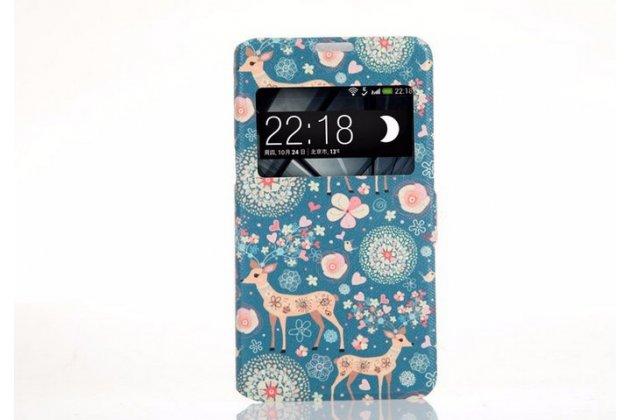 Фирменный чехол-книжка с безумно красивым расписным рисунком Оленя в цветах на Sony Xperia E4G/ E4G Dual E2003/E2033 с окошком для звонков