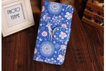 """Фирменный уникальный необычный чехол-книжка с визитницей кармашком для Sony Xperia M1/Xperia M Dual С1905  """"тематика олени в цветах"""""""