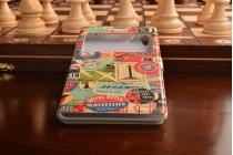 Фирменный чехол-книжка с безумно красивым расписным рисунком марок на Sony Xperia T3 D5102/D5103 с окошком для звонков