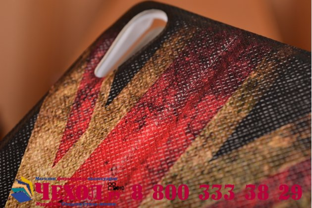 "Фирменный чехол-книжка с рисунком на тему ""Ретро Британский флаг"" на Sony Xperia T3 D5102/D5103 с окошком для звонков"
