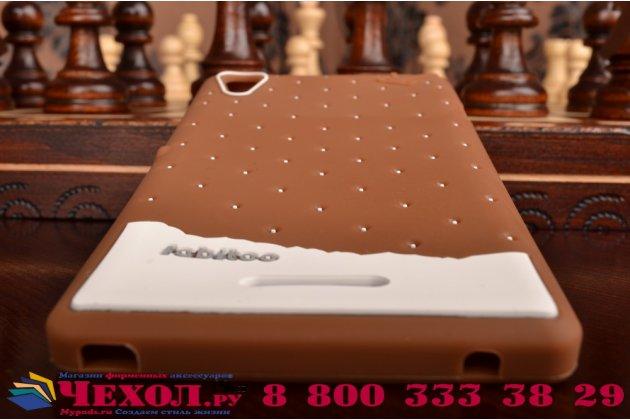 """Фирменная необычная уникальная полимерная мягкая задняя панель-чехол-накладка для Sony Xperia T3 D5102/D5103 """"тематика Андроид в тёмном Шоколаде"""""""
