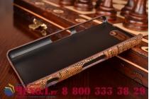 Фирменная элегантная экзотическая задняя панель-крышка с фактурной отделкой натуральной кожи крокодила кофейного цвета для Sony Xperia Z3 Compact D5803. Только в нашем магазине. Количество ограничено.