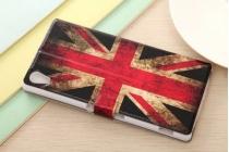 """Фирменный чехол-книжка с рисунком на тему """"Ретро Британский флаг"""" на Sony Xperia Z4 /Z3+ с окошком для звонков"""