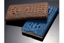 Фирменный роскошный эксклюзивный чехол с объёмным 3D изображением рельефа кожи крокодила синий для Sony Xperia Z4 /Z3+ /Z3+ Dual. Только в нашем магазине. Количество ограничено
