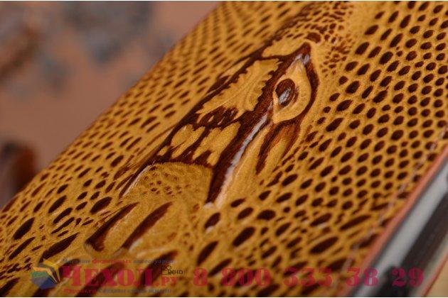 """Фирменный роскошный эксклюзивный чехол с объёмным 3D изображением кожи крокодила коричневый для Sony Xperia Z5 / Z5 Dual Sim E6603/E6633 5.2"""" . Только в нашем магазине. Количество ограничено"""