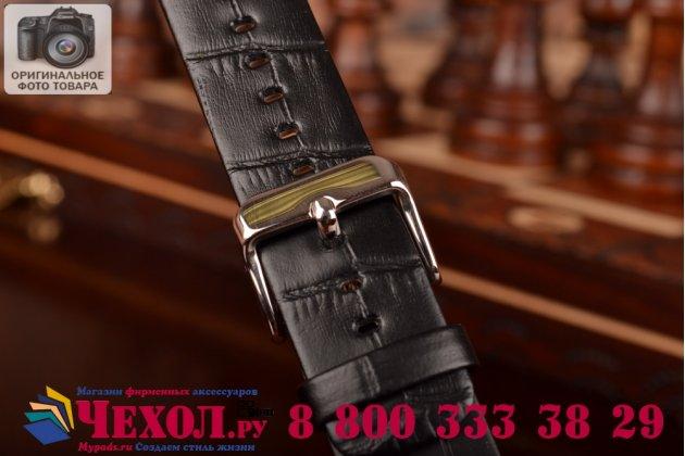 Фирменный сменный кожаный ремешок для умных смарт-часов Apple Watch 38mm из кожи крокодила черного цвета